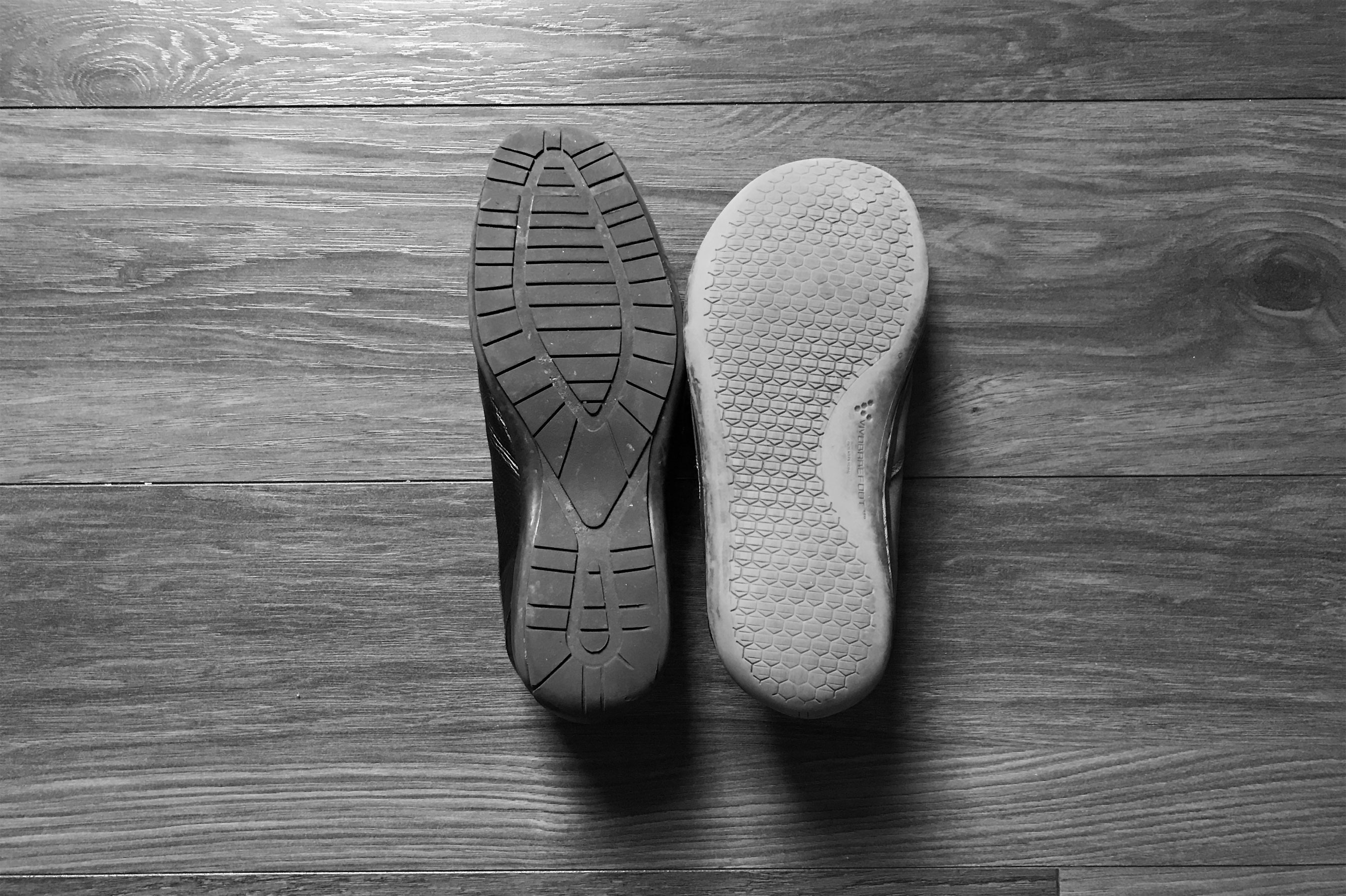 Minimal / barefoot shoes next to normal shoes.